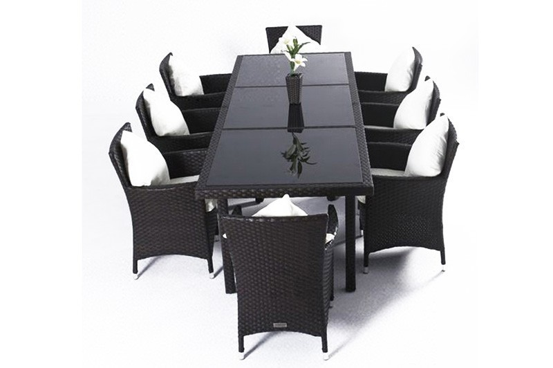 outflexx gartebm bel polyrattan esstisch und 8 st hle braun 1287 bei. Black Bedroom Furniture Sets. Home Design Ideas