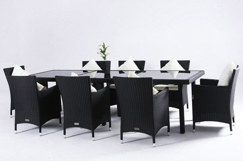 outflexx gartenm bel polyrattan esstisch und 8 st hle schwarz 1286 bei. Black Bedroom Furniture Sets. Home Design Ideas