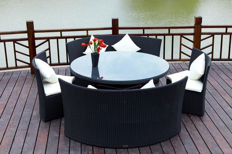 Outflexx Gartenmöbel Polyrattan Sitzgruppe Rondell schwarz ...