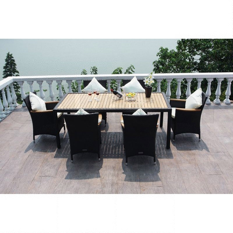 outflexx polyrattan teak gartentisch und 6 st hle braun. Black Bedroom Furniture Sets. Home Design Ideas