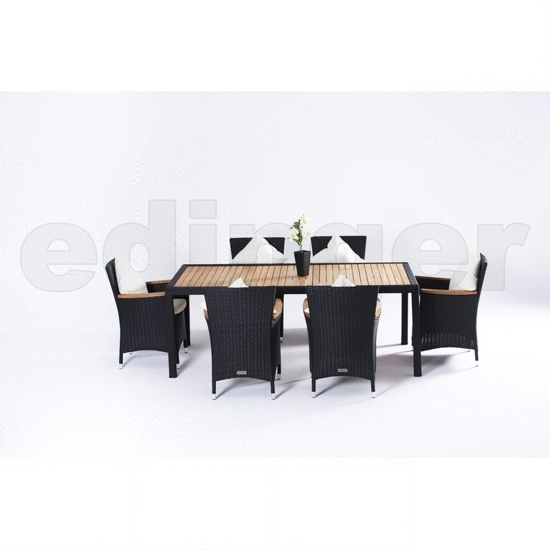 outflexx polyrattan teak gartentisch und 6 st hle. Black Bedroom Furniture Sets. Home Design Ideas