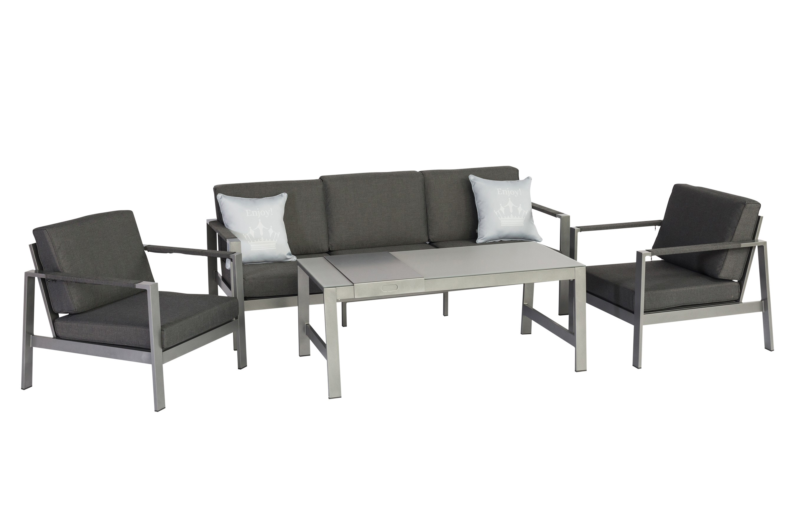 gartenm bel lounge set negrito alu graphit 7 teilig bei. Black Bedroom Furniture Sets. Home Design Ideas