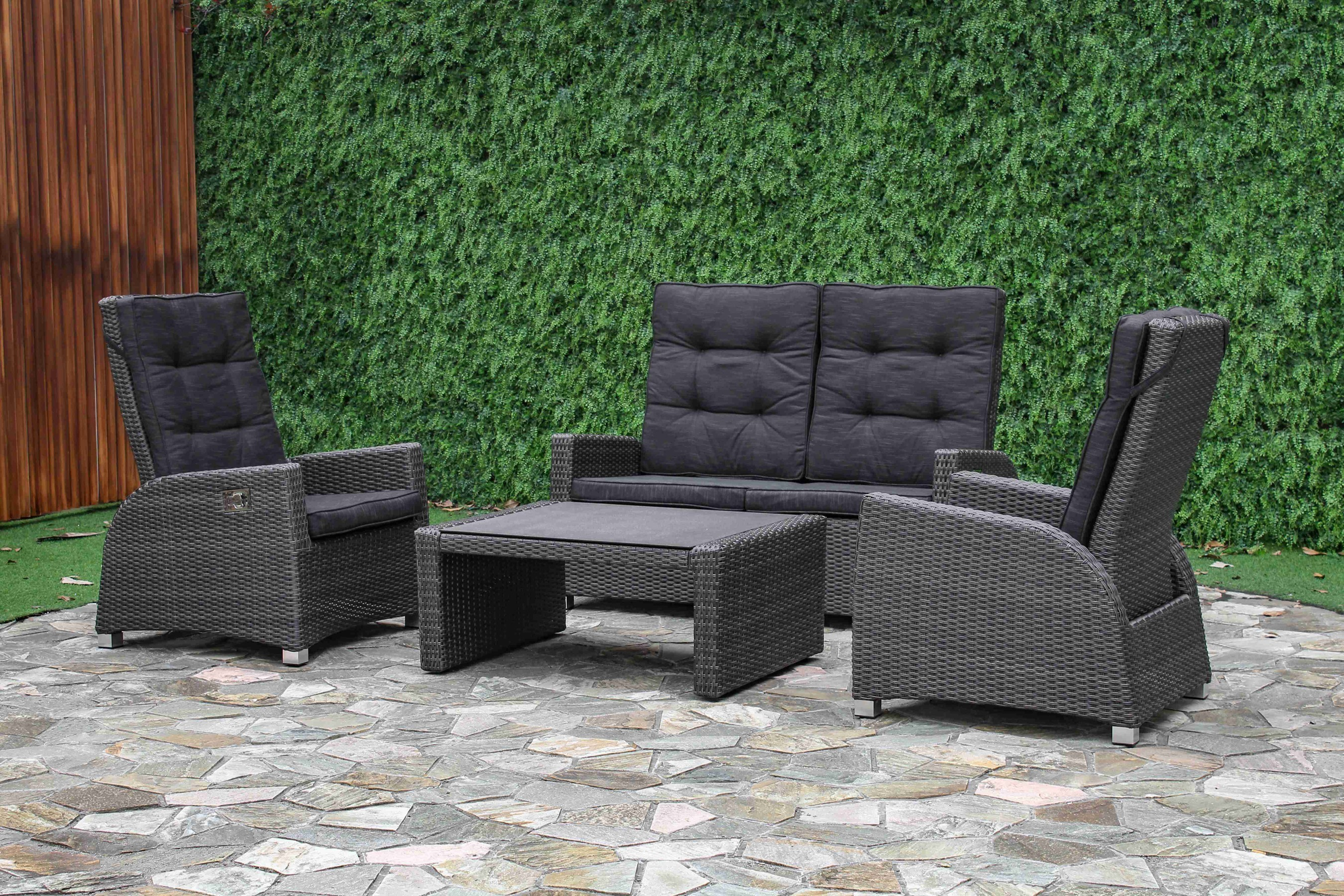 Sungörl Loungemöbel / Lounge Set Malaga Polyrattan anthrazit - bei ...