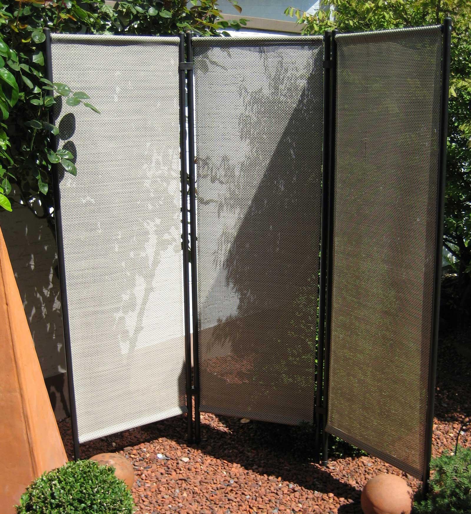 sichtschutz paravent stahl textil schilf 3 teilig 150x156cm bei. Black Bedroom Furniture Sets. Home Design Ideas
