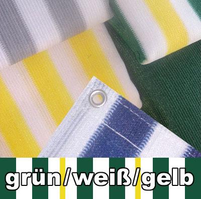 Balkon Sichtschutz / Balkonumspannung 500x90cm grün/weiß/gelb gestr ...