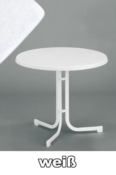 sieger gartentisch klapptisch 70cm stahl wei mecalit wei bild 1. Black Bedroom Furniture Sets. Home Design Ideas