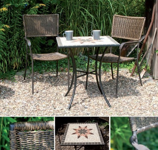 gartentisch balkontisch stella 64x64cm eisen schwarz mosaik grau bei. Black Bedroom Furniture Sets. Home Design Ideas