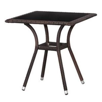 gartentisch korbm bel wetterfest alto mit glasplatte 70x70cm maron bild 1. Black Bedroom Furniture Sets. Home Design Ideas