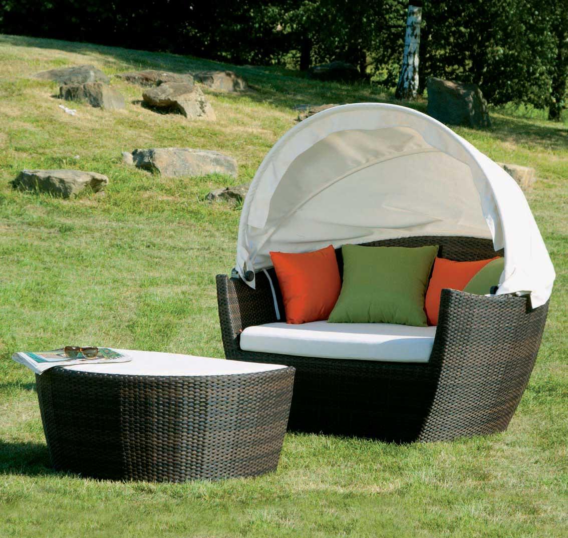 korbm bel lounge set hawaii mit sonnendach bi color mocca wei bei. Black Bedroom Furniture Sets. Home Design Ideas