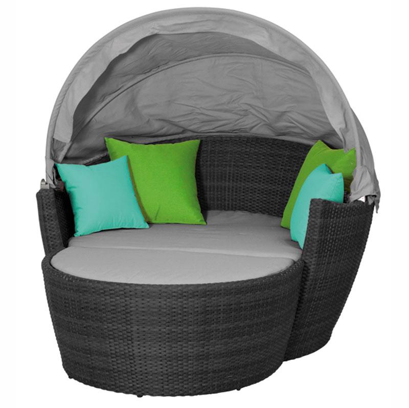korbm bel lounge set hawaii mit sonnendach titan hellgrau bild 1. Black Bedroom Furniture Sets. Home Design Ideas