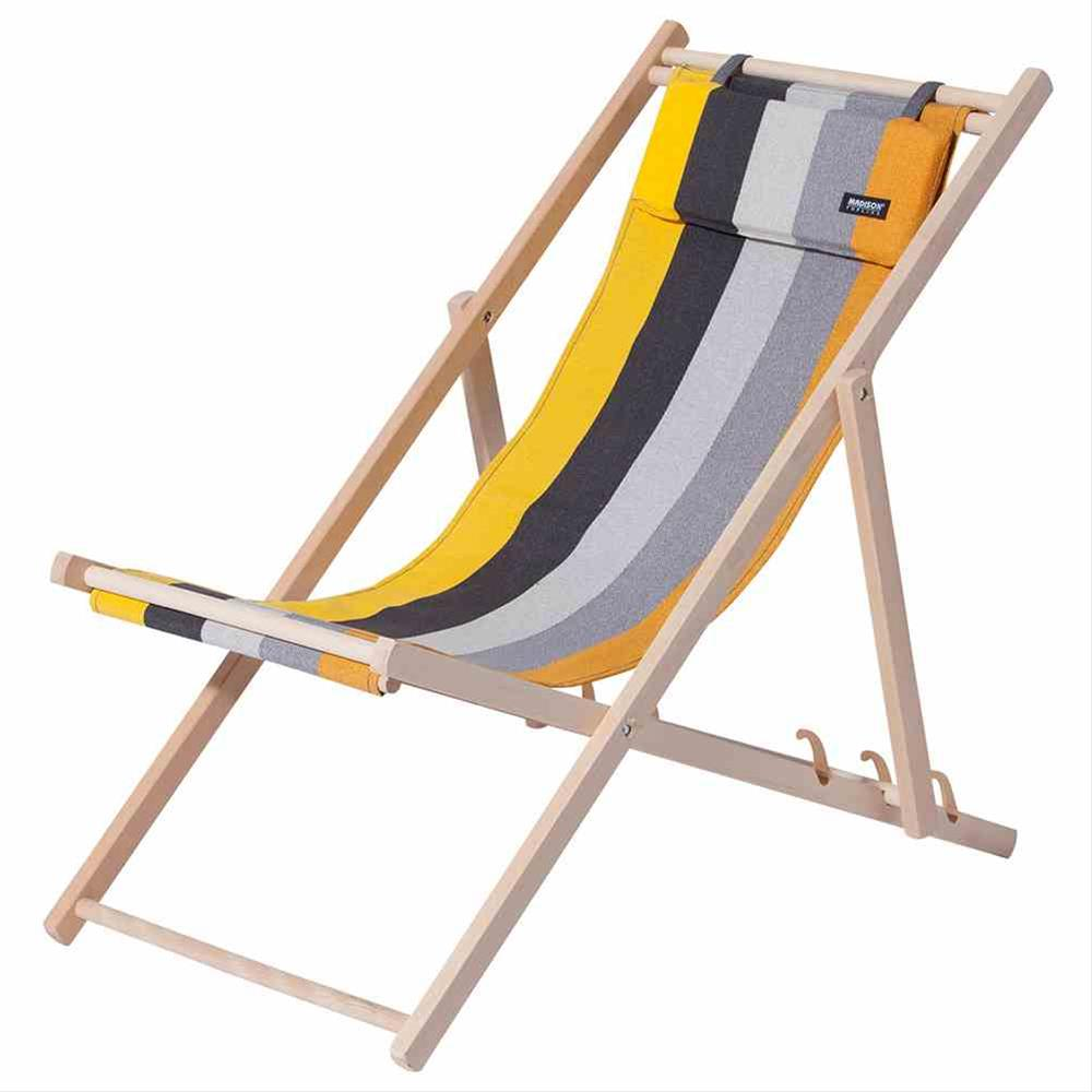 Liegestuhl / Strandstuhl Madison Holz / Textil Victoria gelb gestreift Bild 1