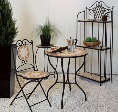 serviertablett mit untergestell finca mosaik schwarz eisen bei. Black Bedroom Furniture Sets. Home Design Ideas