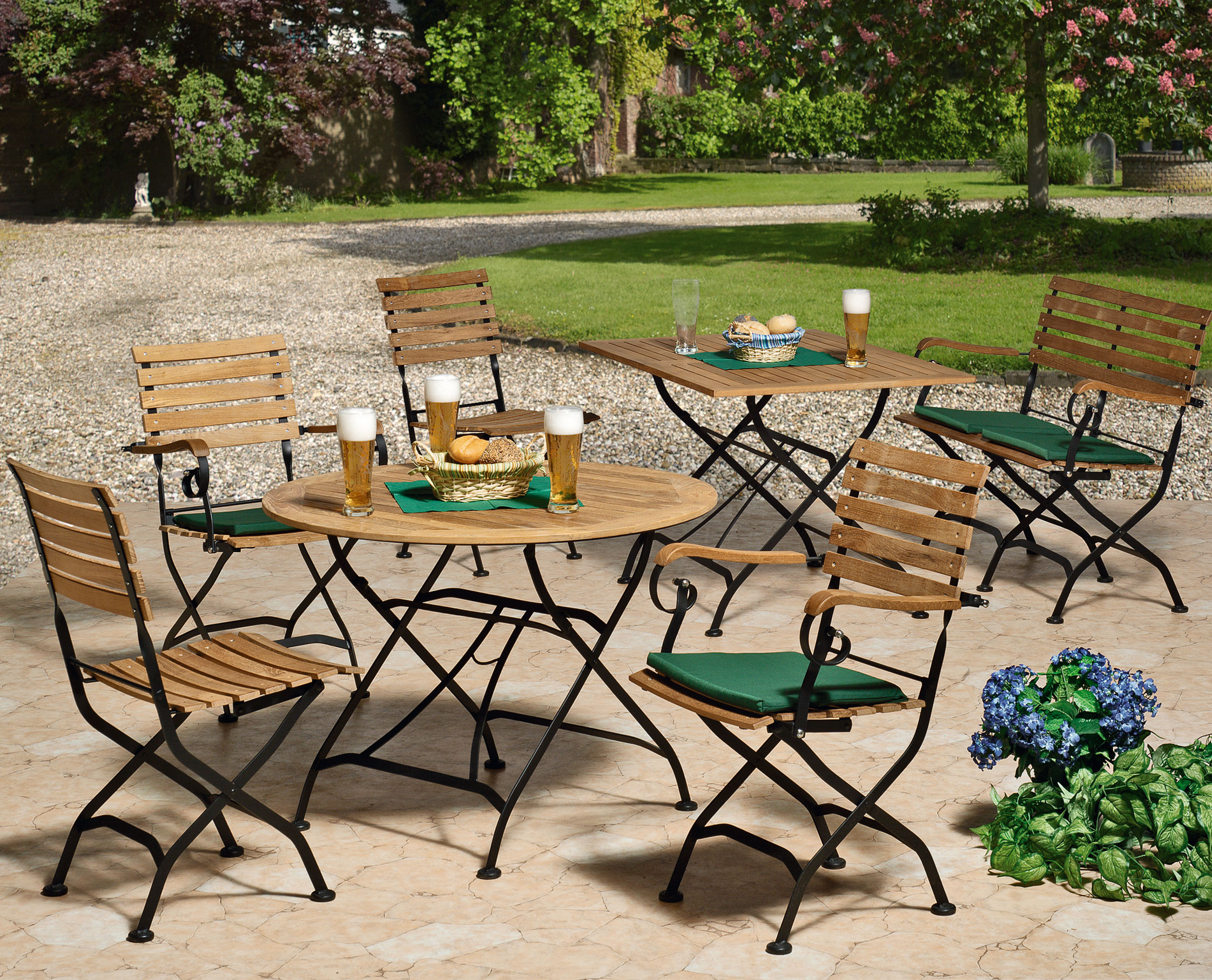gartenbank biergartenm bel klappbar peru ii 2 sitzer teakholz stahl bei. Black Bedroom Furniture Sets. Home Design Ideas