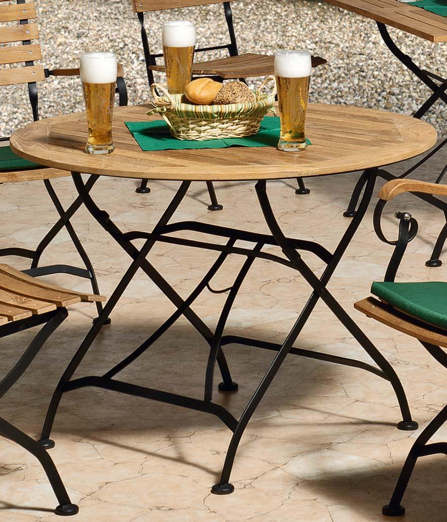 Siena Garden Gartentisch Biergartenmöbel klappbar Peru II Ø90cm Teak Bild 1