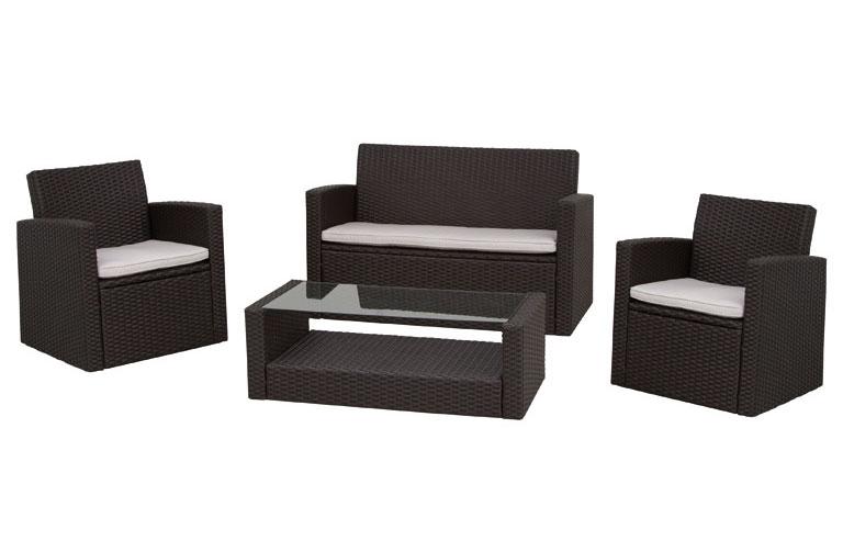 Gartenmöbel / Lounge Möbel Set Parla 4-teilig Polyrattan mocca - bei ...