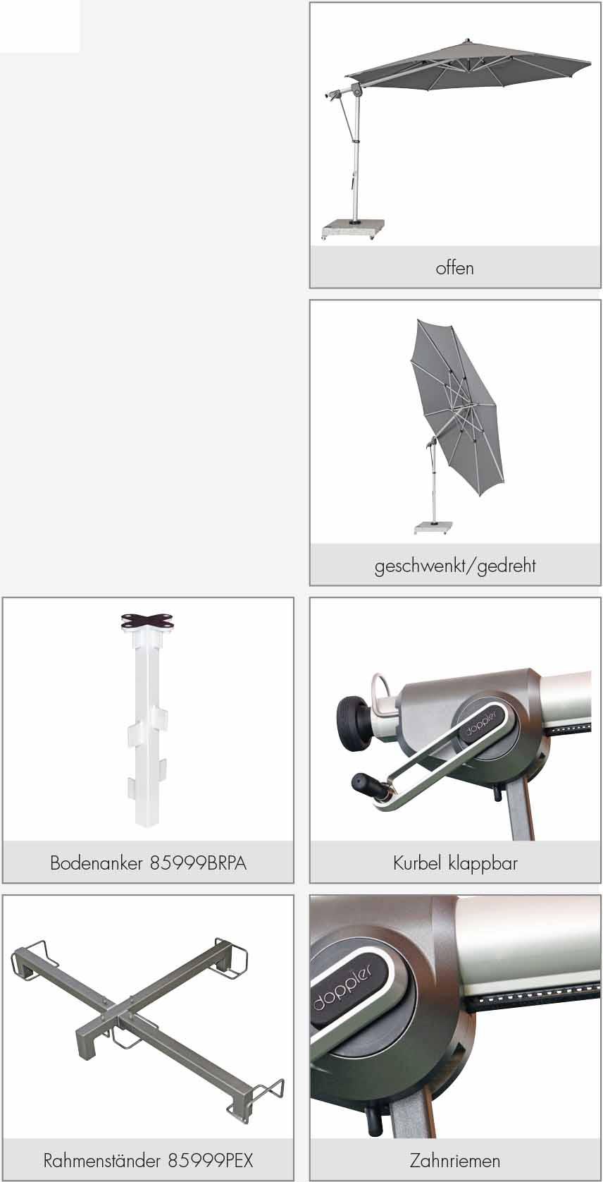 Doppler Ampelschirm / Pendelschirm Expert 350cm Des. T827 hellgrau Bild 2