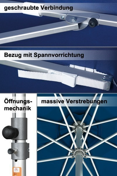 Großschirm / Sonnenschirm Doppler Alu Expert 350x350cm dunkelblau Bild 2