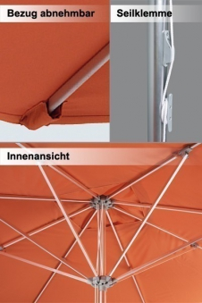 Großschirm / Sonnenschirm Doppler Gastro Clip 300x300cm D. 904 d-grün Bild 2