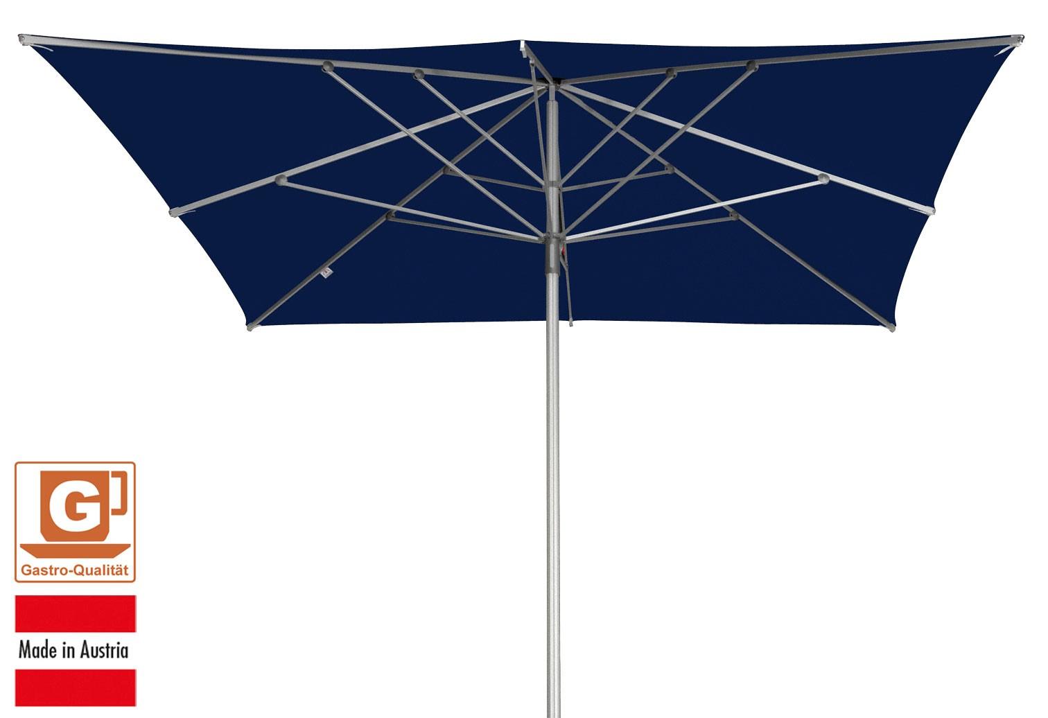 gro schirm sonnenschirm doppler alu expert 350x350cm dunkelblau bei. Black Bedroom Furniture Sets. Home Design Ideas