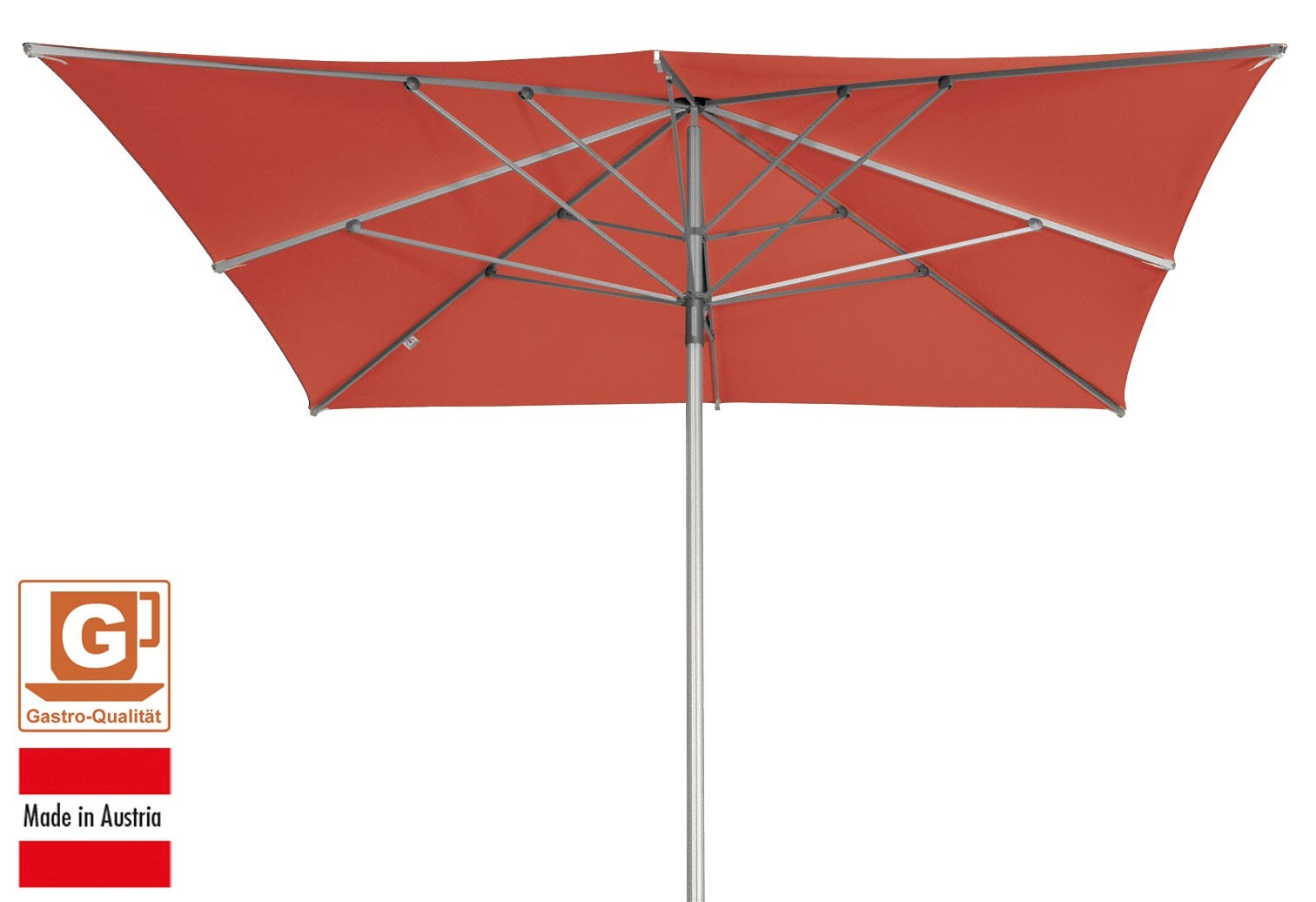 gro schirm sonnenschirm doppler alu expert 350x350cm terracotta bei. Black Bedroom Furniture Sets. Home Design Ideas