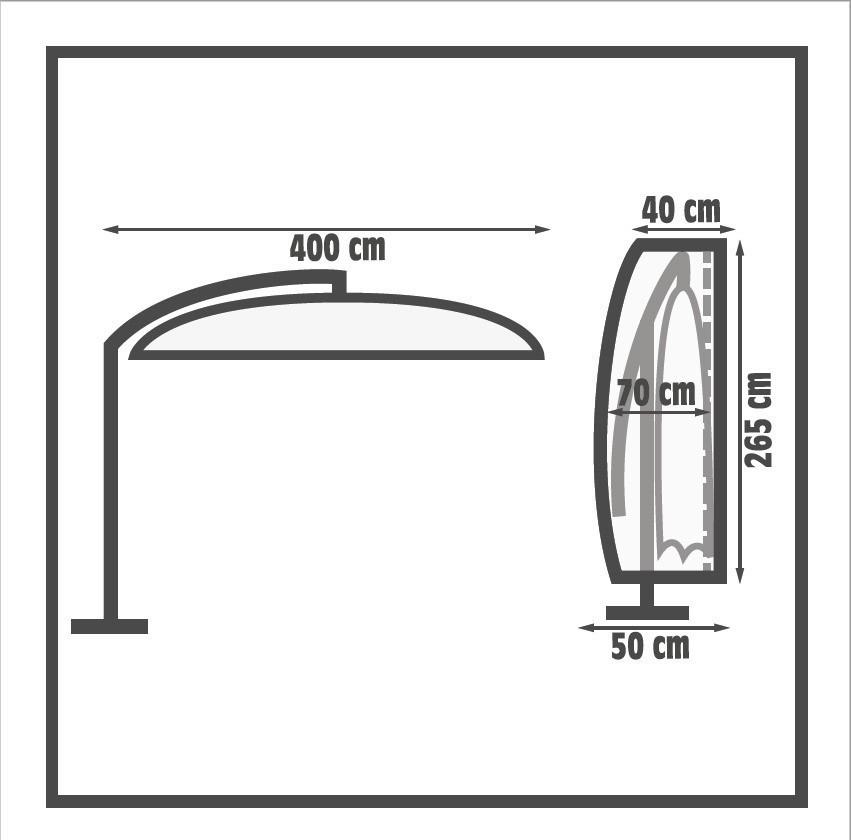 Schutzhülle Wehncke Premium für Ampelschirm Ø 400cm grau Bild 2