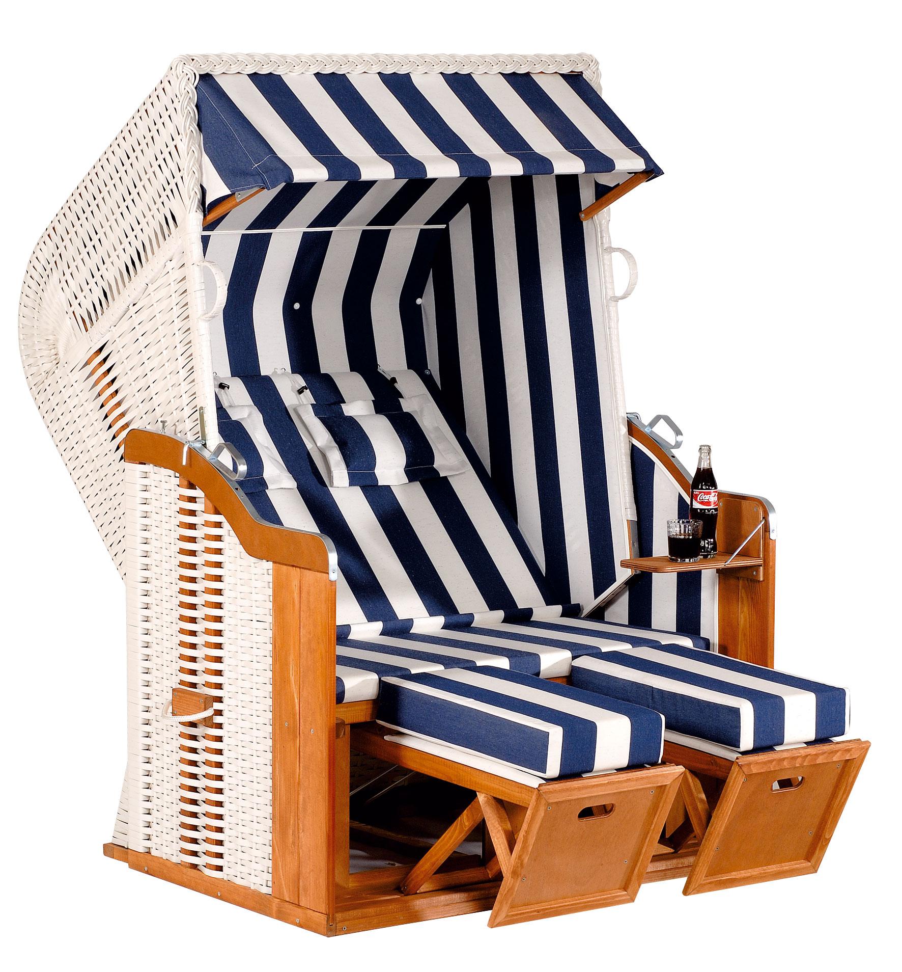 Sunny Smart Strandkorb Halblieger Rustikal 250 Plus Geflecht weiß 80 Bild 1