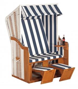 Sunny Smart Strandkorb Halblieger Rustikal 50 Plus Geflecht weiß 80 Bild 1
