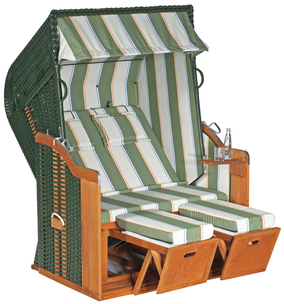 Sunny Smart Strandkorb Liegemodell Rustikal 250 Plus Gefl. grün 1202 Bild 1