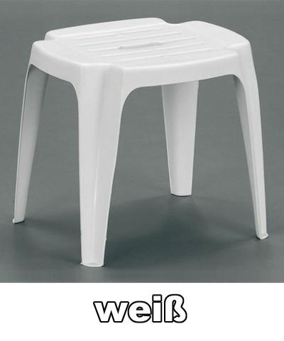 Gartenhocker / Beistelltisch Calypso weiß Kunststoff Bild 1