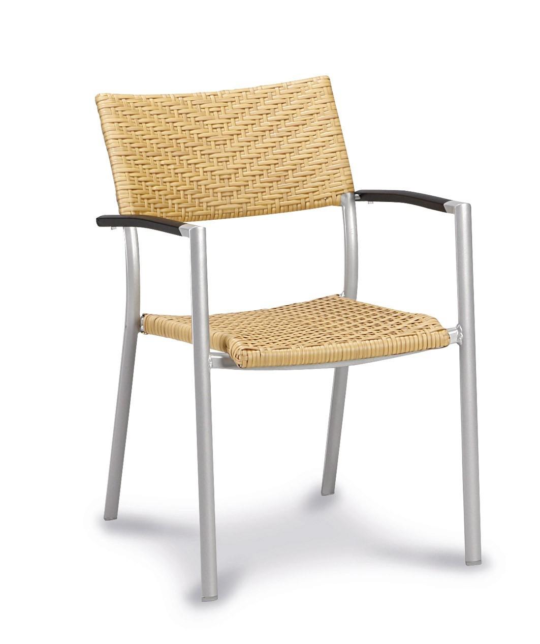 gartensessel albany stapelbar alu silber polyrattan natur bei. Black Bedroom Furniture Sets. Home Design Ideas