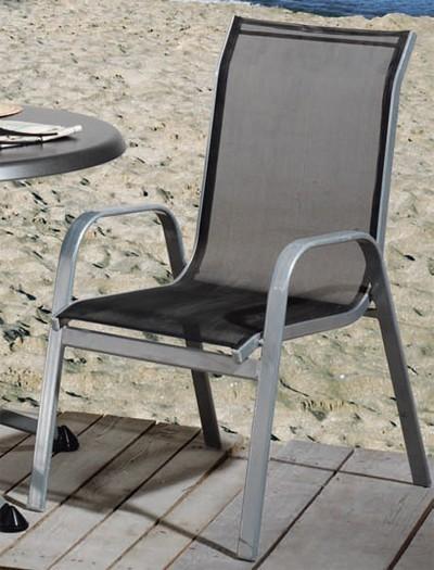 gartensessel gartenstuhl genua stapelbar alu silber schwarz bei. Black Bedroom Furniture Sets. Home Design Ideas