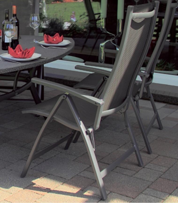Gartensessel / Gartenstuhl klappbar Belcampo Hartman Alu anthrazit Bild 1
