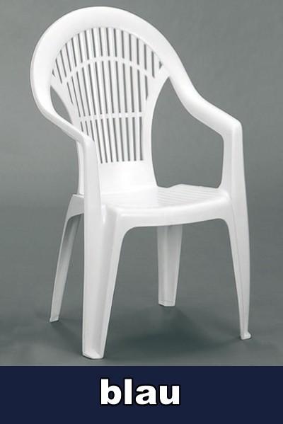 gartensessel hochlehner stapelbar vega blau kunststoff bei. Black Bedroom Furniture Sets. Home Design Ideas