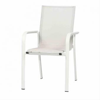 Gartenstuhl Dining Sessel stapelbar Siena Garden Ambra Alu weiß/grau Bild 1