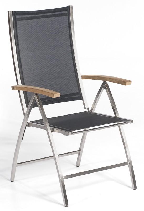 Sonnenpartner Gartensessel Paragon klappbar Edelstahl/Textil schwarz Bild 1