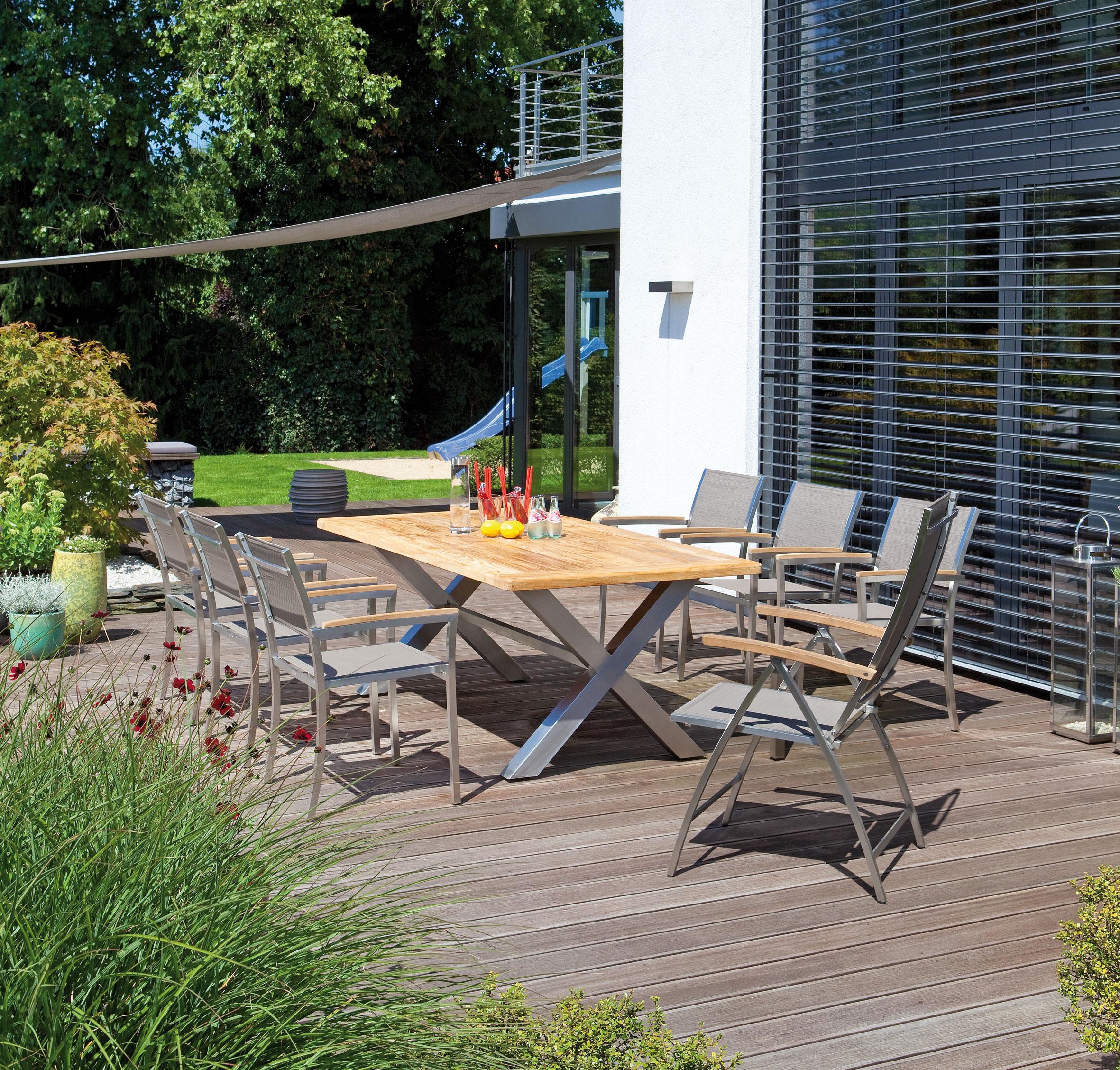 Sonnenpartner Gartensessel Paragon klappbar Edelstahl/Textil schwarz Bild 2