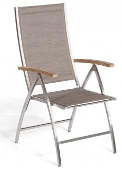 Sonnenpartner Gartensessel Paragon klappbar Edelstahl/Textil taupe Bild 1