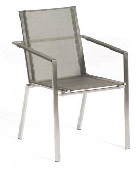 Sonnenpartner Gartensessel stapelbar Platinum Edelstahl grau Bild 1