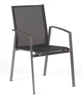 Sonnenpartner Gartenstuhl stapelbar Fresno Alu anthrazit/schwarz Bild 1