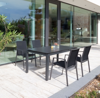 Sonnenpartner Gartenstuhl stapelbar Fresno Alu anthrazit/schwarz Bild 2