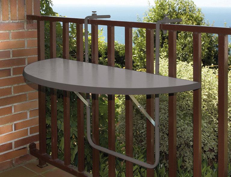 Balkontisch / Hängetisch halbrund 100x50cm Kunststoff / Stahl anthraz. Bild 1