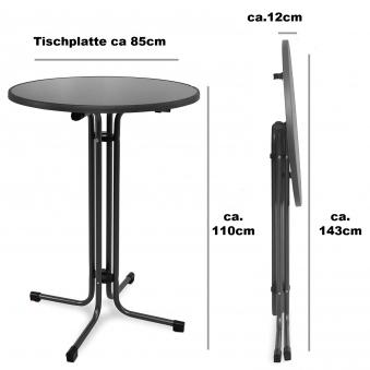 Bartisch / Stehtisch klappbar Ø 85 cm eisengrau Stahl Bild 2