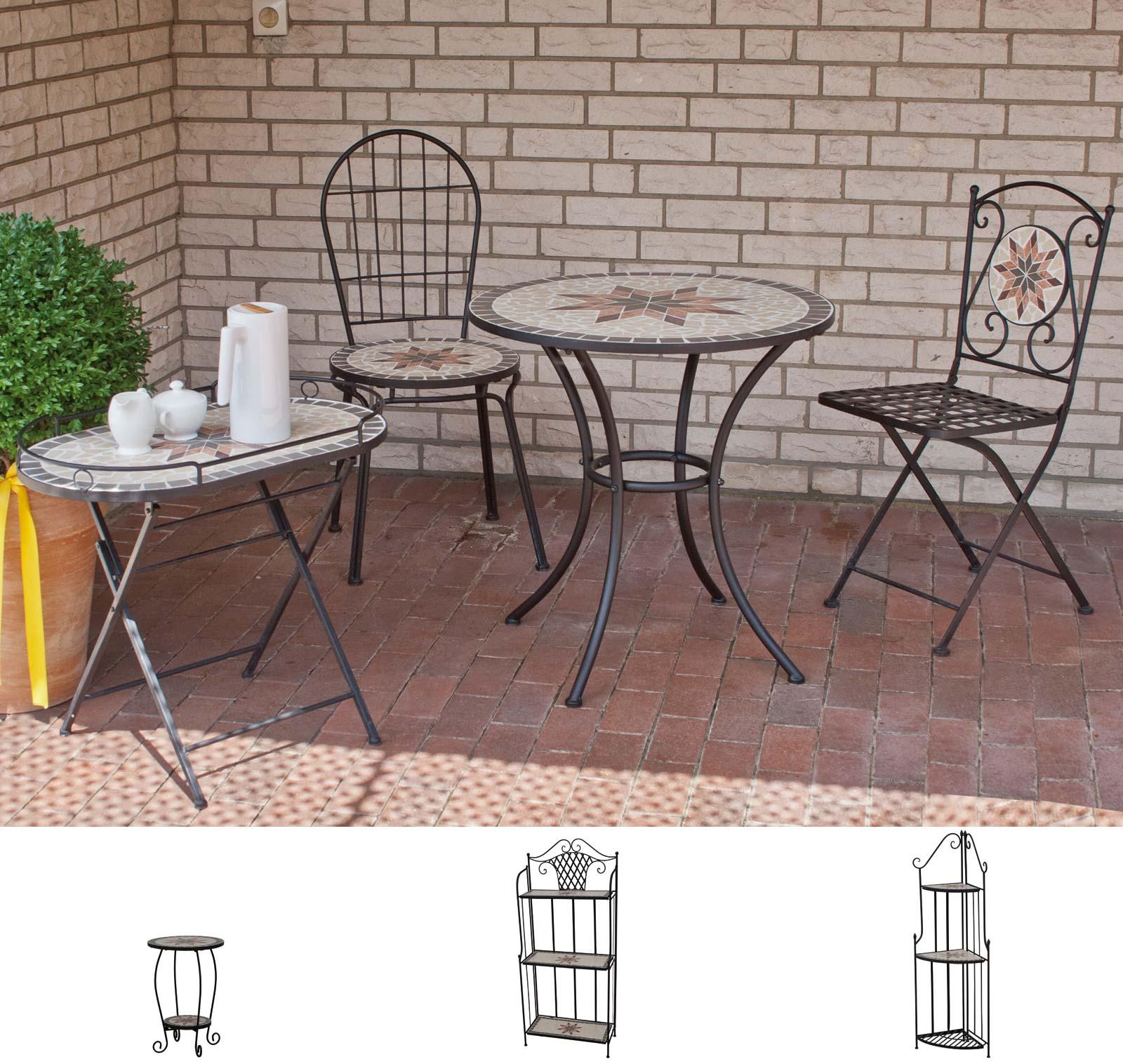 Beistelltisch / Balkontisch Siena Garden Stella 69x35 Eisen / Mosaik Bild 2