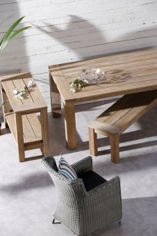Gartentisch Beistelltisch Sideboard Moretti Best 100x42 Teak greywash Bild 3