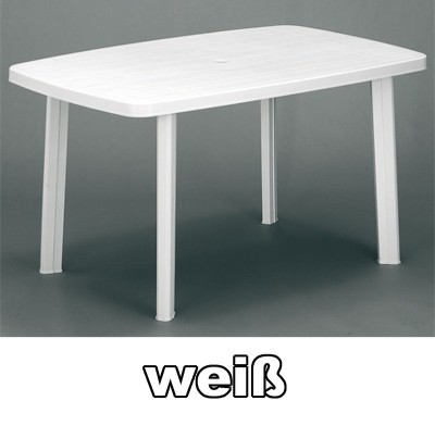 Gartentisch Eckig Faro 140 X 90 Cm Weiss Kunststoff Bei Edingershops De