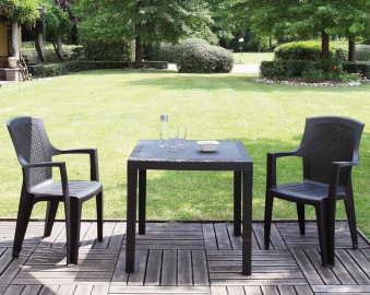 gartentisch king 79x79cm kunstoff rattan optik anthrazit. Black Bedroom Furniture Sets. Home Design Ideas