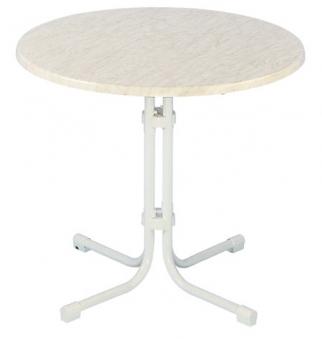 Gartentisch klapptisch piazza 80cm stahl topalit wei for Gartentisch marmor