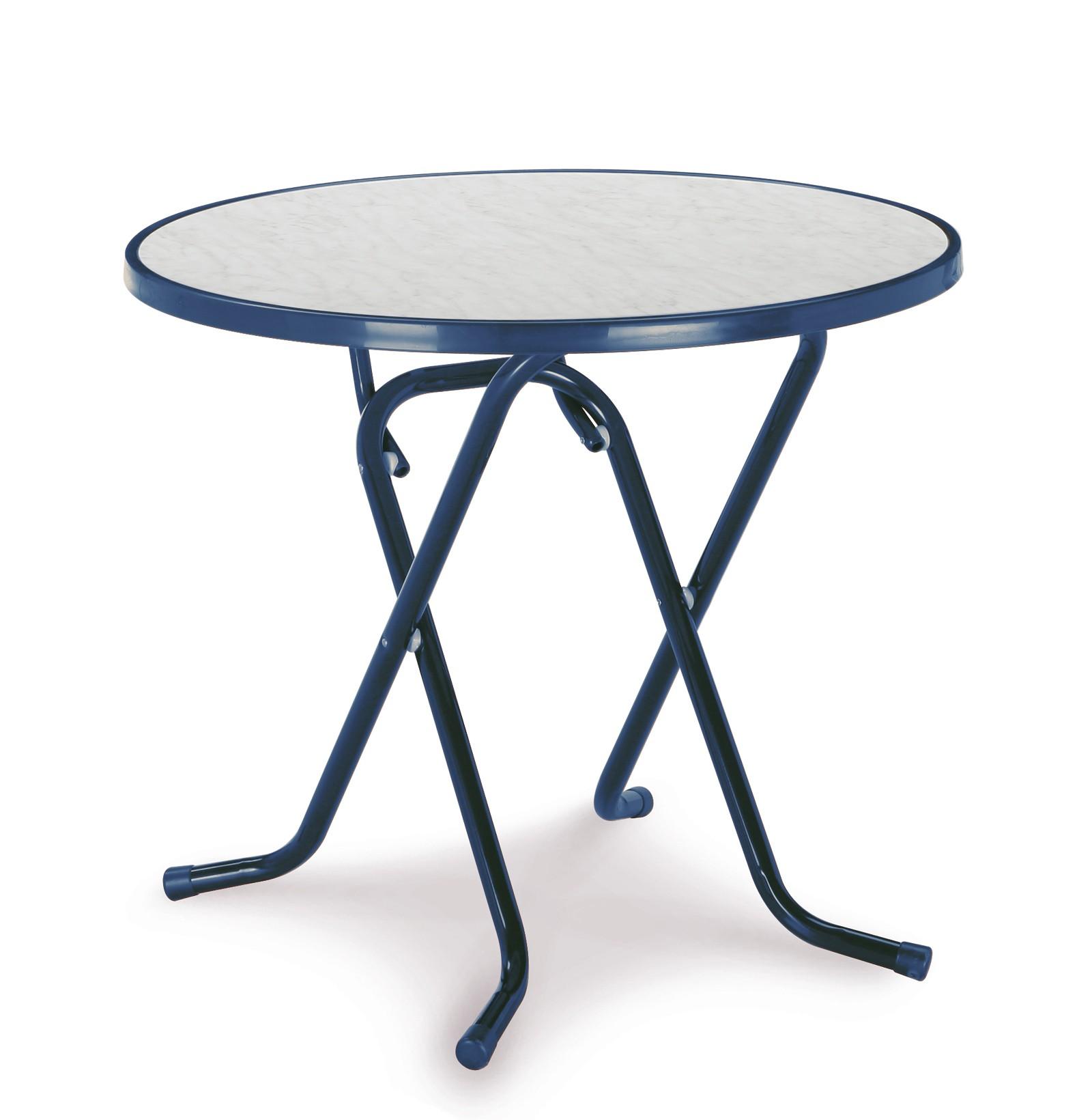 Gartentisch / Klapptisch Primo Best Ø80cm Stahl blau Bild 1