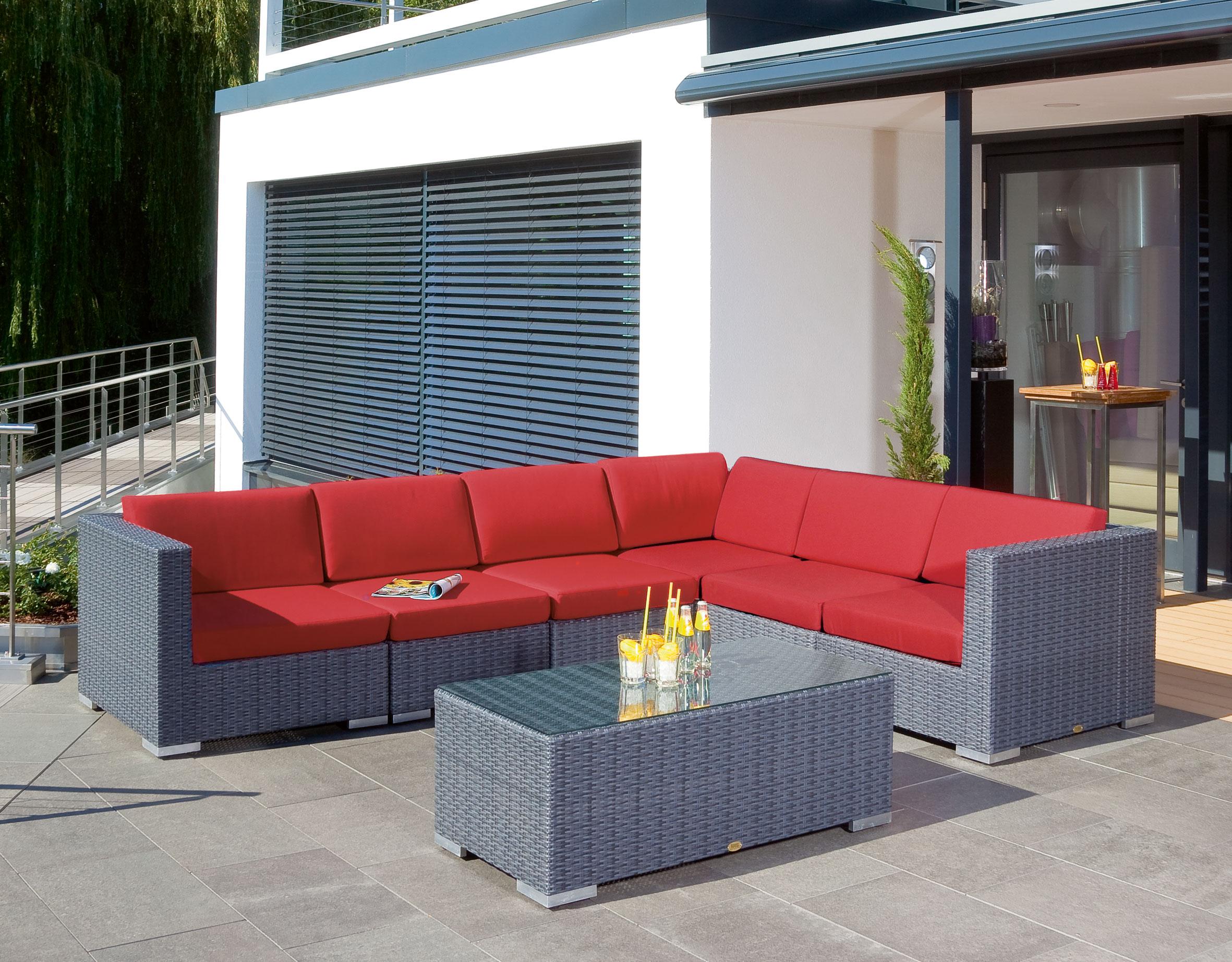 Gartentisch Korbmöbel wetterfest Residence 120x60cm graphit-schwarz Bild 2