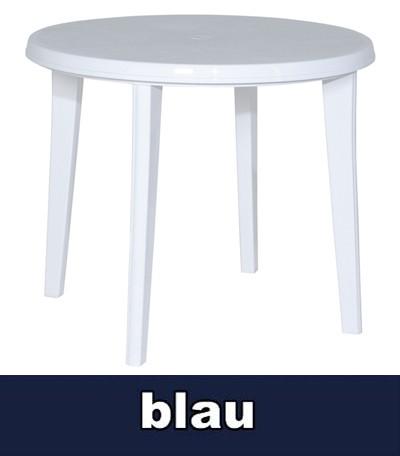 Gartentisch Lisa Ø 90cm blau Kunststoff Bild 1
